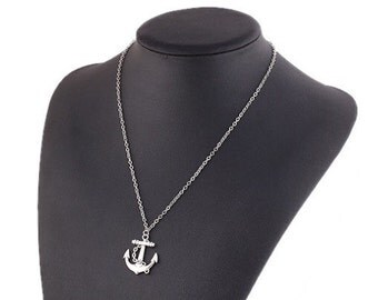 Silver Anchor Charm Necklace