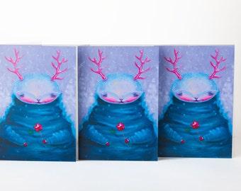 Set of 3 blank Christmas Greetings Card. Christmas Holiday Card. Big Muh.