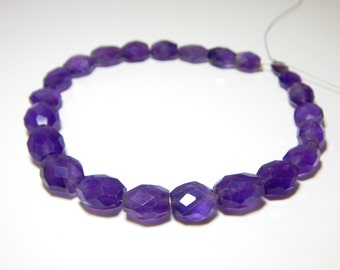 Amethyst Faceted Oval Beads 100% Natural Gemstone Size 11.8x8.8mm Approx  Code - 0193