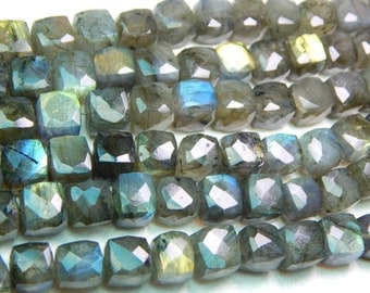 55 Percent OFF Blue Flash Labradorite Gemstone Faceted Beads / Labradorite 3D Cube Beads / Box Shape / Size 8.4x8.1 mm Approx  Code - 0375