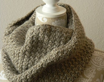 Natural Heather Infinity Scarf Crocheted