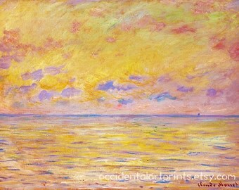 Claude Monet Sunrise Wall Art Print, Yellow Living Room Bedroom Wall Art, Home Decor, Fine Art Reproduction, Room Decor, Office Art Print