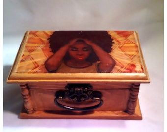 Afrocentric, Keepsake box, Wood Box, girl gifts, unique gift, teen gifts, gift, meditation, art, trinket box,  jewelry Box, birthday Gift,