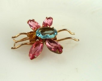 Coro Rhinestone Bug Insect Brooch Pin Signed
