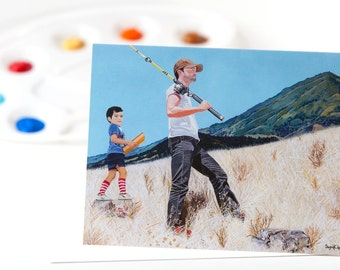 """Greeting Card 5 x 7 in. Of The Original Painting """"Father And Son"""" Painted By Award-Winning Artist Ingrid Lockowandt"""