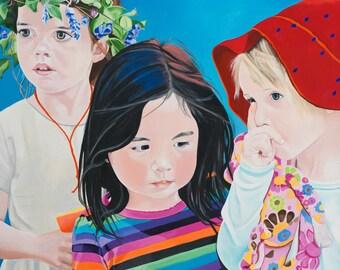 "Giclée Print On Fine Art Paper Of Original Painting ""Three Girls"" Painted By Award-Winning Artist Ingrid Lockowandt"