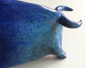Blue bull figure   Sardinia ceramics   animal figure   blue miniature figure   good luck gift   zodiac