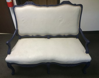 1800's Blue Distressed/Chalk Paint Settee