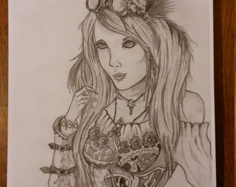 My Drawing Of A Steampunk Girl.