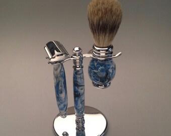 razor set, gifts for men, gifts for him, safety razor, custom razor, shaving equipment, shaving set, shaving brush, mach 3 razor,