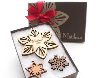 Personalized Wood Snowflake Ornament - Gift Box set from Nestled Pines Woodworking