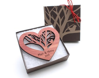 5th Anniversary Gift - Wood Heart Ornament