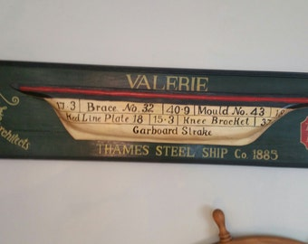 C.A. 1950's Nautical Wooden Hull Hand Painted