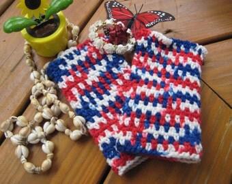 Crochet Fingerless Gloves Women's Medium patriotic arm warmers