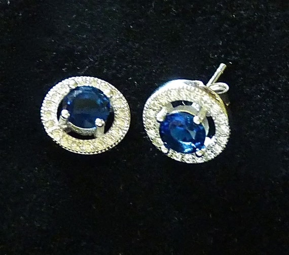 SILVER 925 ~ Blue/White CZ ~ Stud Earrings ~ 925 Silver ~ Halo Setting ~ Vintage 1980's ~ Beautiful Sparkly Earrings ~ Valentine's Day