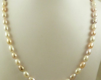 Freshwater Multi-Color 36.5 Inches Pearl Necklace & 14k Yellow Gold Fish Lock