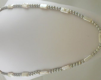 Freshwater Gray and White Pearl 6 - 10mm Necklace 46 Inches