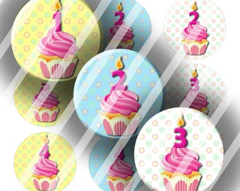 Digital Bottle Cap Collage Sheet - Cupcake Birthday - 1 Inch Circles Digital Images for Bottlecaps