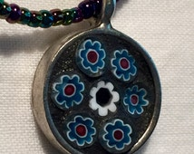 Mosaic Glass Millefiori Round Pendant Necklace Seed Beaded Chain