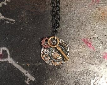 steampunk watch part necklace