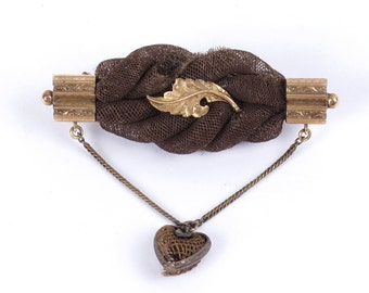 Antique 19th c Victorian mourning child's hair brooch gold tone heart leaf