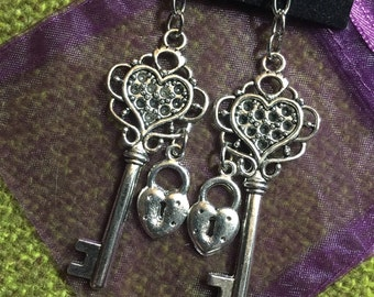 Large Heart-Shaped Hammered Skeleton Key & Heart Lock Dangling Earrings