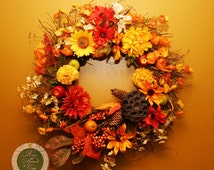 Thanksgiving Wreath Thanksgiving Decor Fall Wreath Fall Decor Autumn Twig Wreath with Flowers, Fruit, Leaves and Berries wreaths under 100