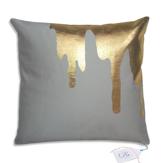 gold splash on light grey throw pillow toss pillow