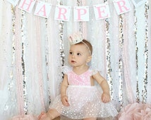 Pink and Silver Backdrop, Pink and Silver Decorations, Pink and Silver Nursery Decorations, Winter Onederland, Pink Silver 1st birthday
