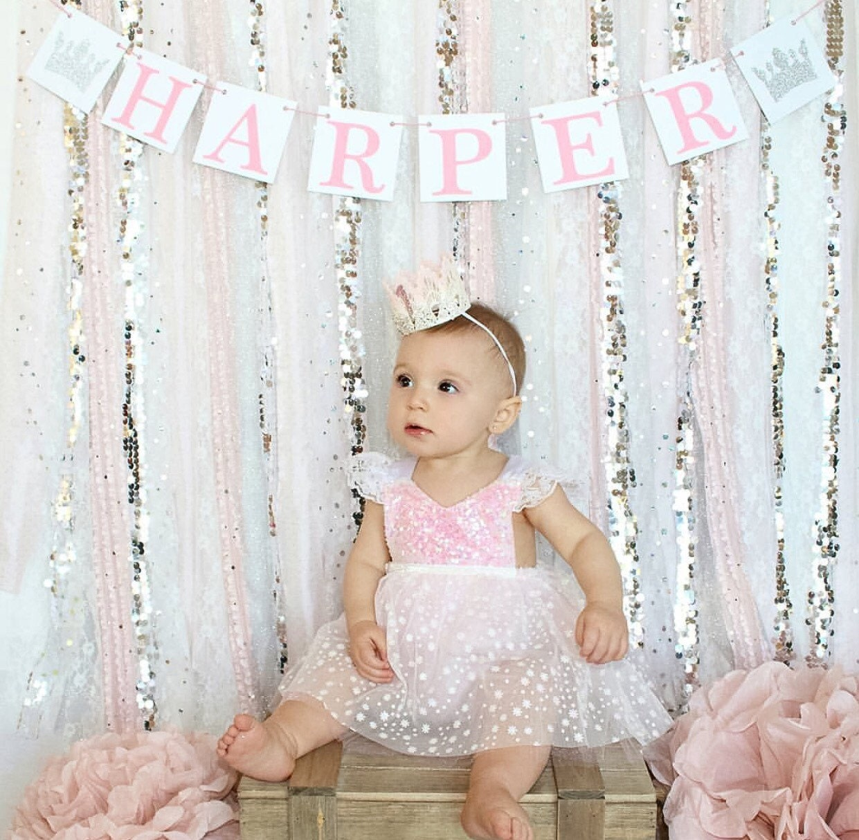 Pink Silver Winter Onederland Party Birthday Pink Silver