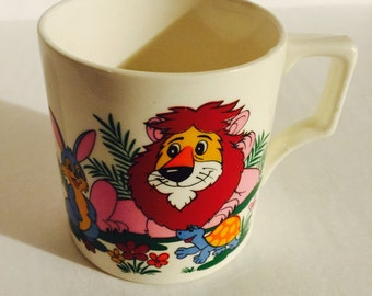 Vintage Japan 1970s Ceramic Child's Cup Lion,Turtle and Bunny