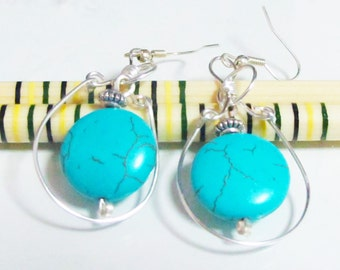 Turquoise Blue Magnesite Silver Plated Earrings