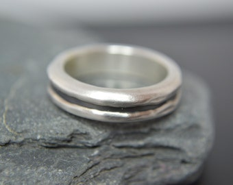 Fine Silver and Black Sterling Silver Wedding Band, Engagement Band, Promise Ring, Artisan Ring, Rustic Band