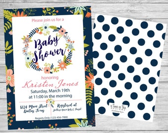 BABY SHOWER INVITATION - Spring, Navy, Floral