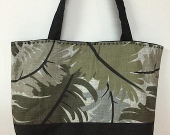 Two tone black with gray leaves print handbag