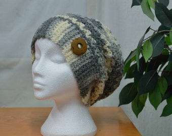 Crocheted Slouchy Hat - Pure Wool
