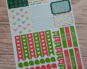 Back to School Themed Planner Stickers- Made to fit Vertical Layout