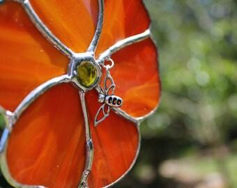 Stained Glass Flower Suncatcher - Orange Flower - Flower Suncatcher - Stained Glass Suncatcher