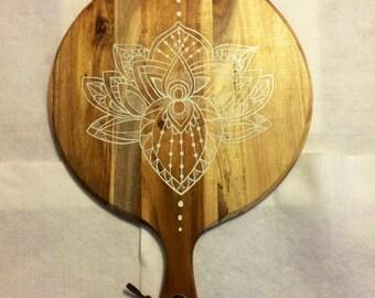 White lotus flower chopping board