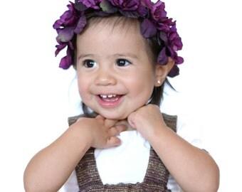 Purple flower crown / infant flower crown / baby flower crown / bridesmaid / flowergirl / wine colored flower crown /toddler fashion /