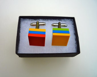 Lego Cufflinks yellow, red, green and blue
