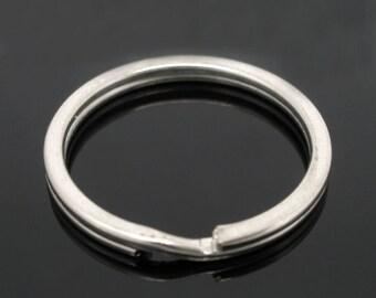 10 Keychain Rings, Split Ring, Silver Tone (1T-60)