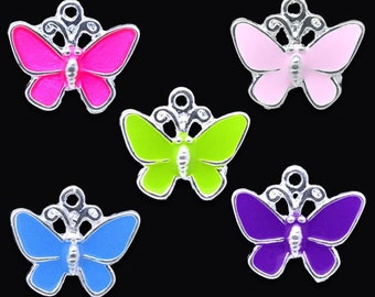 5 Colorful Butterfly Charms, Silver Plated Enamel (1C-54)