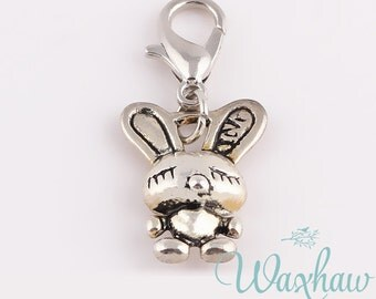 Bunny Rabbit Dangle Charms with Lobster Clasp, Antique Silver Tone (1R-21)