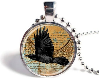 Raven Pendant, Crow Jewelry, Picture Pendant, Bird Jewelry, Edgar Allan Poe, Raven Necklace, Raven Keychain, Crow Keyring