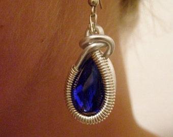 Wrapped Earrings,Silver Earrings,Wire wrapped Earrings,Wire Wrapped Jewelry,Handmade,Blue glass Earrings,Gift for Her