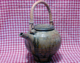 1-Vintage Hoyer Pottery Teapot with Bamboo Handle and Lid   8-10cup capacity