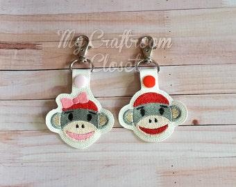 Boy and Girl Sock Monkey set Key Fobs/Zipper Pulls