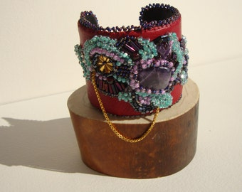 Bohemian chic Cuff Bracelet embroidered on leather