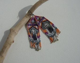 Native American earrings, chic boho, Bohemian, navajo Indian, gipsy